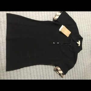 Black Burberry Blouse Polo Top